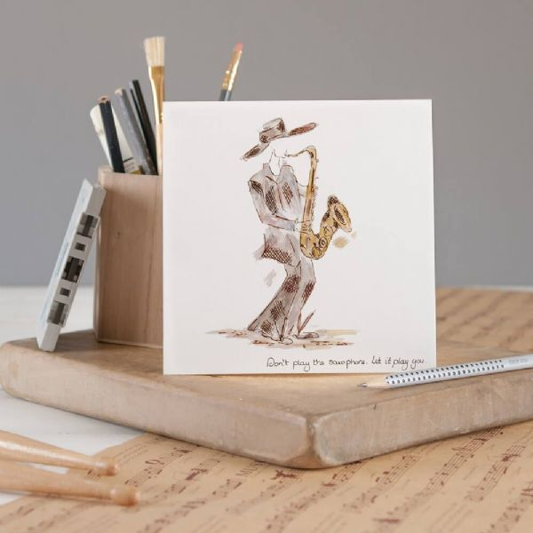 Play the Sax Greeting Card by Claire Louise